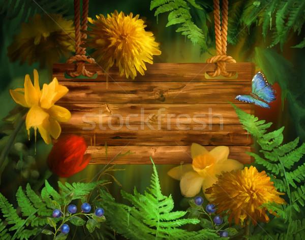 Couleur pour aquarelle peinture été fleurs d'été peinture floral Photo stock © kostins