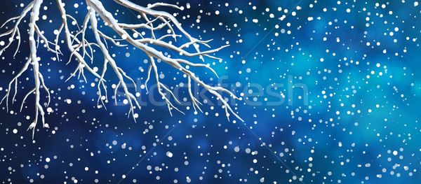 Sky Tree Branches Christmas Banner Stock photo © kostins