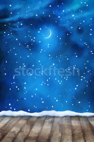 Kış Gece Boyama Kar Stok Fotoğraf Nadezhda Kostina