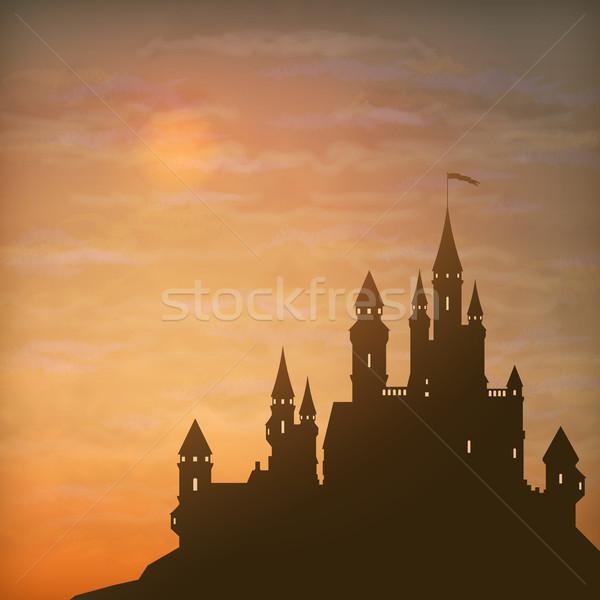 Stockfoto: Fantasie · vector · kasteel · maanlicht · hemel · silhouet
