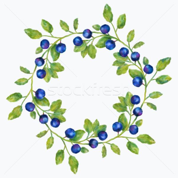 Watercolor Blueberries Wreath Stock photo © kostins