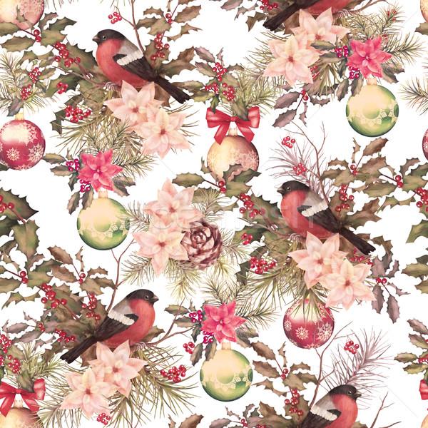 Noel Retro kuş çiçekler şube Stok fotoğraf © kostins