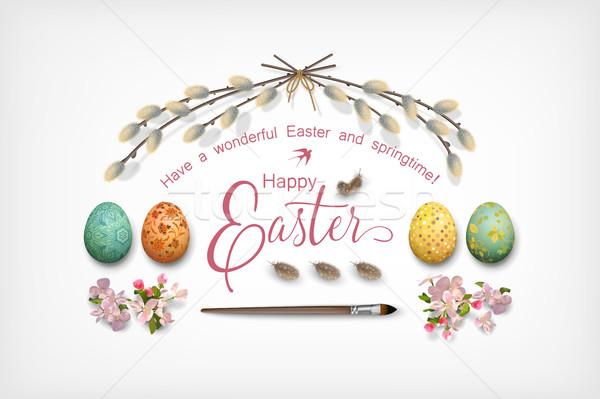 Wielkanoc górę widoku wesołych Świąt pióro jaj Zdjęcia stock © kostins