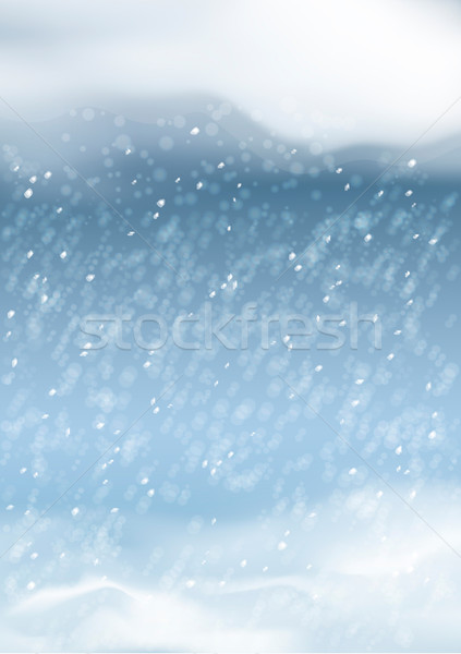 Vector Abstract Winter Snowfall Background Stock photo © kostins
