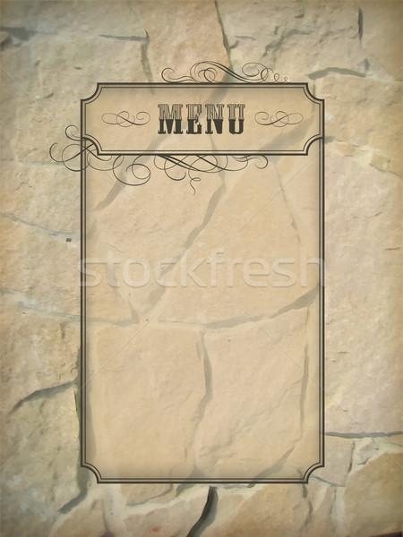 Vintage menu frame muro di pietra vettore grezzo Foto d'archivio © kostins