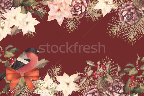 Foto stock: Navidad · retro · acuarela · decorativo · marco · aves