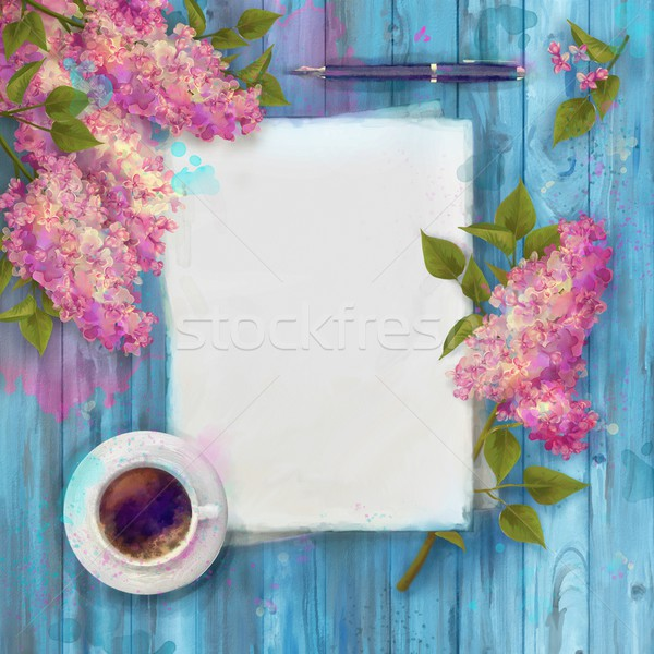 Spring Watercolor Top View Stock photo © kostins