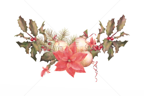 Karácsony vízfesték girland ünnep díszek fehér Stock fotó © kostins