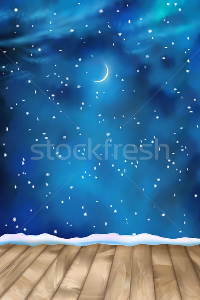 Vector Winter Nightly Clouds Background Stock photo © kostins