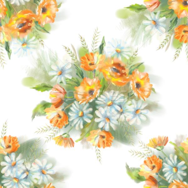 Aquarela pintado flores buquê original Foto stock © kostins