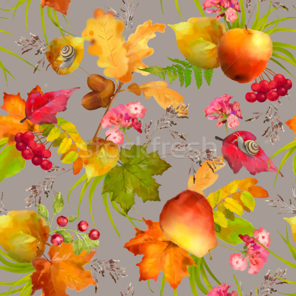 Watercolor Autumn Seamless Pattern Stock photo © kostins