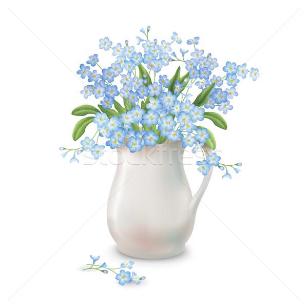 Bahar çiçekleri sürahi vektör bahar buket seramik Stok fotoğraf © kostins