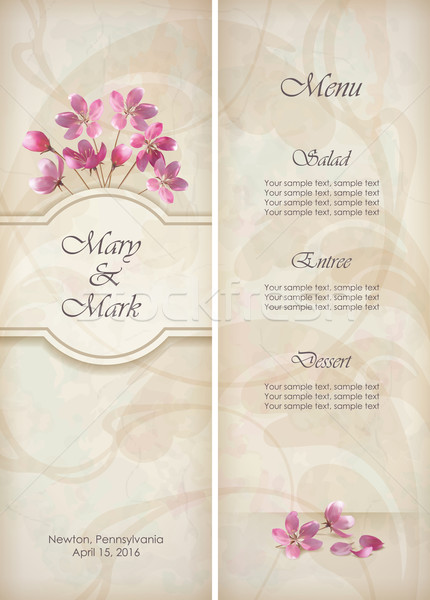 Floral decorative wedding menu template design Stock photo © kostins