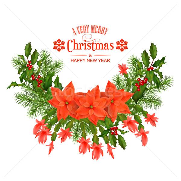Photo stock: Joyeux · Noël · vecteur · carte · de · vœux · vacances · décorations