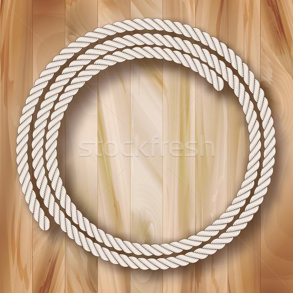 Wood Vector Frame Rope Design Stock photo © kostins