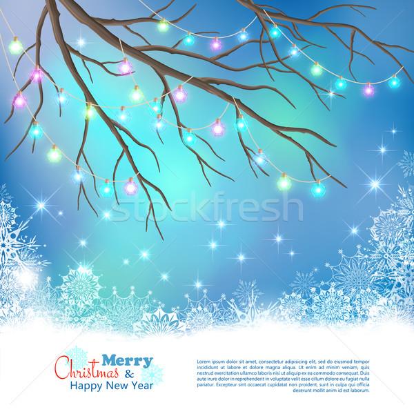 Foto stock: Natal · lâmpadas · vetor · noite · árvore