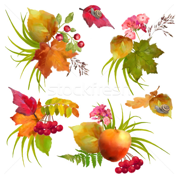 Autumn Watercolor Natural Collection Stock photo © kostins