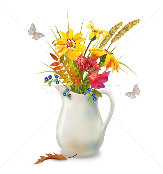 ősz virágok kancsó vektor virágcsokor kerámia Stock fotó © kostins