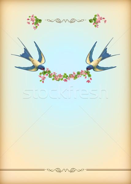 Bruiloft partij kaart bloemen vogels Stockfoto © kostins
