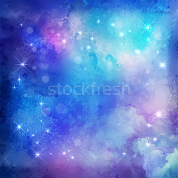 аннотация ночь синий вектора акварель Рождества Сток-фото © kostins