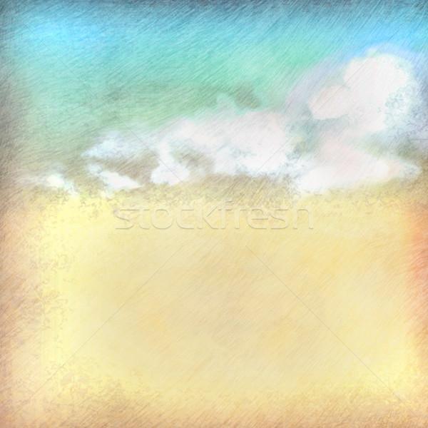 Vintage céu nuvens papel velho desenho Foto stock © kostins