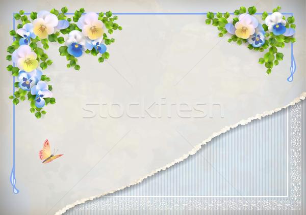 Shabby chic vintage wedding floral invitation Stock photo © kostins