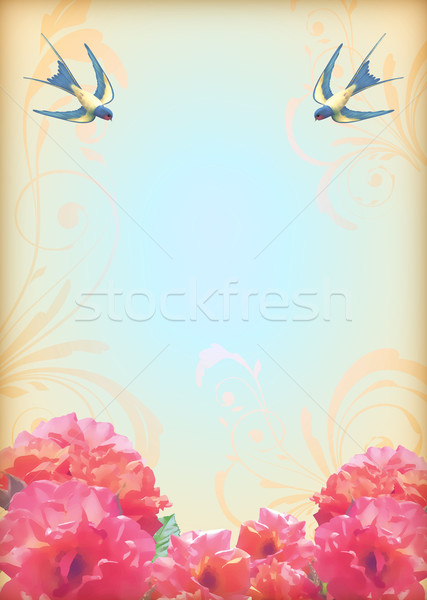 Floral wedding party card with flowers, birds Stock photo © kostins