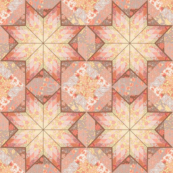 Quilt seamless pattern background star design Stock photo © kostins