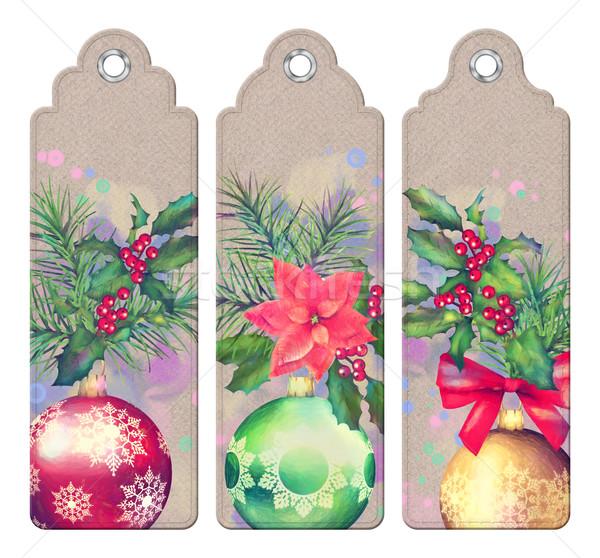 Christmas decoratief bladwijzer ingesteld bladwijzers Stockfoto © kostins