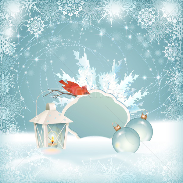 Xmas Bird Lantern Christmas Balls Background Stock photo © kostins