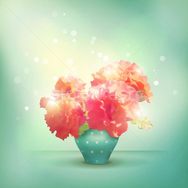 Shining flowers roses in vase Stock photo © kostins