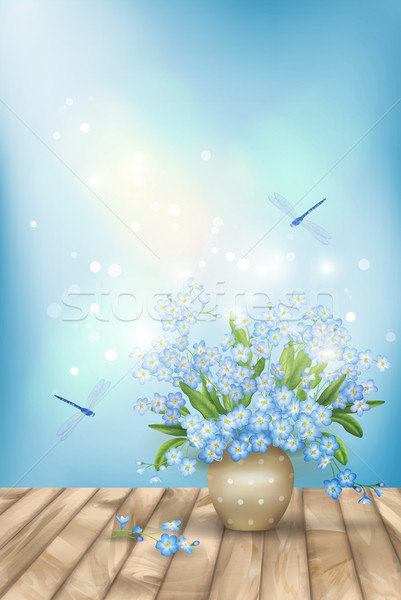 Tavasz kék virágok fa romantikus vektor Stock fotó © kostins