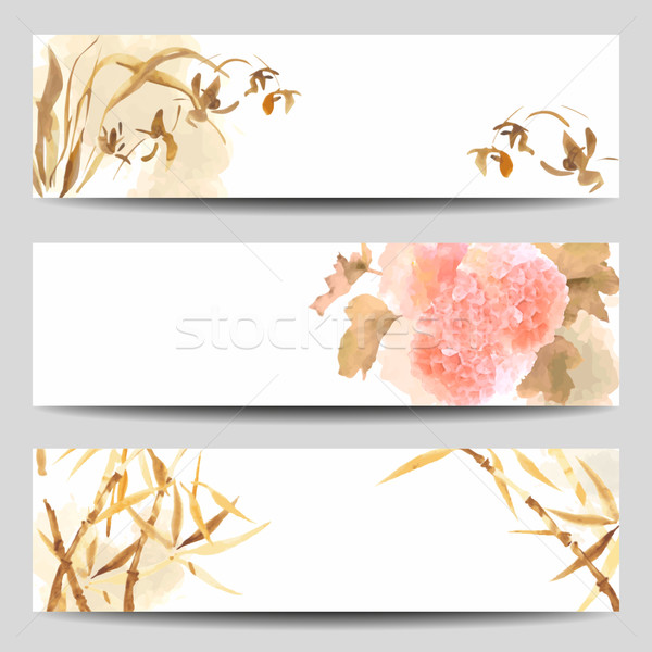 Oriental Style Watercolor Vector Banners Stock photo © kostins