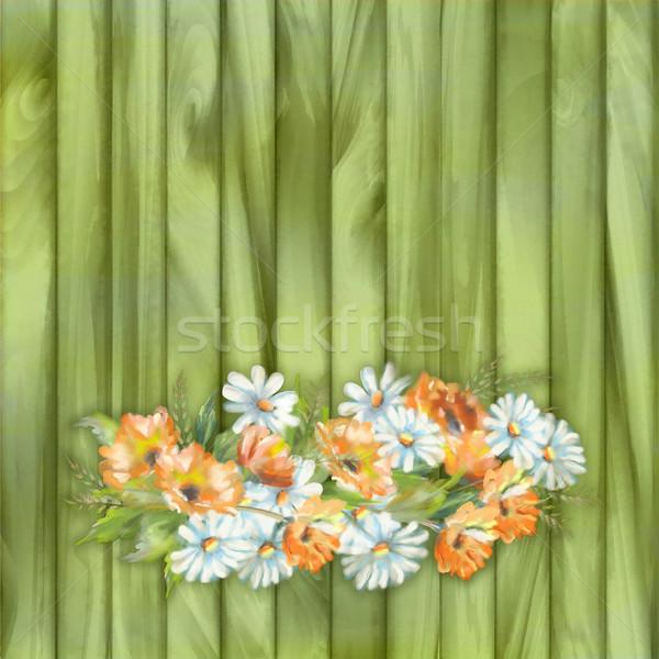 Acquerello verniciato fiori illustrazione legno primavera Foto d'archivio © kostins