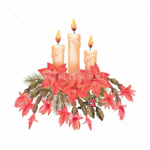Allegro Natale acquerello disegno vacanze decorazioni Foto d'archivio © kostins