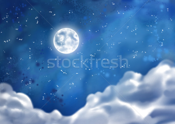 Watercolor Vector Nightly Clouds Stock photo © kostins