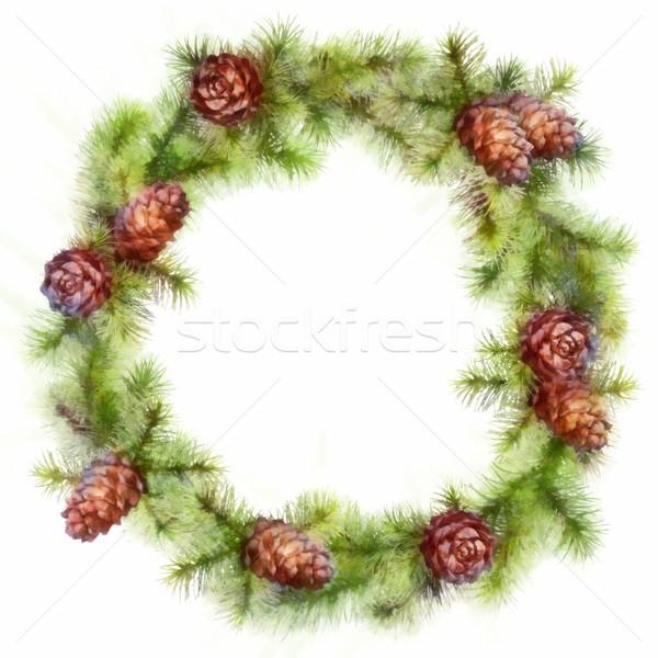 Natale disegno albero rami ghirlanda Foto d'archivio © kostins