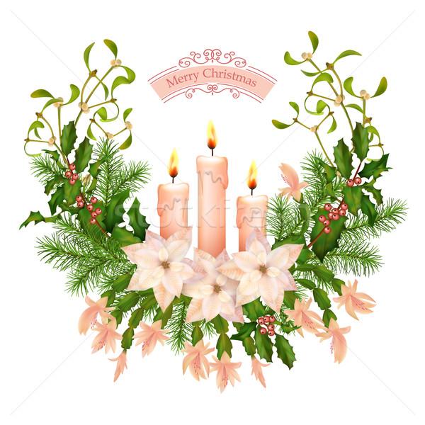 Vettore Natale capodanno biglietto d'auguri vacanze decorazioni Foto d'archivio © kostins