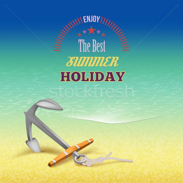 Tengerészeti nyár utazás poszter terv tenger Stock fotó © kostins
