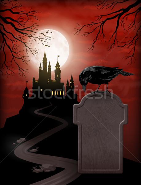 Halloween kale siluet tepe ay ışığı Stok fotoğraf © kostins