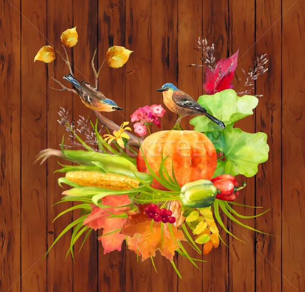 акварель осень благодарение тыква кукурузы осень Сток-фото © kostins