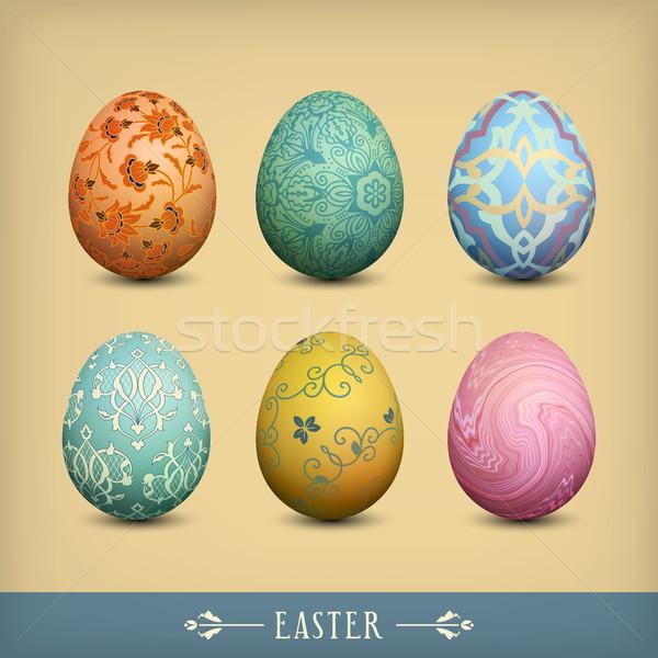 Set of Vintage Easter Eggs Stock photo © kostins