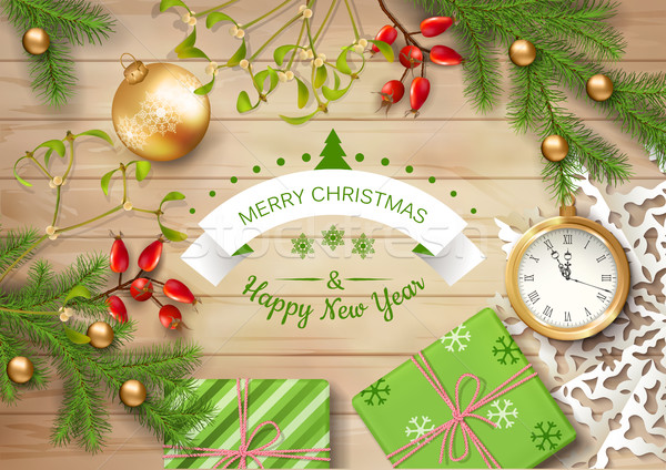 Christmas Top View.Christmas Vector Top View Background Vector Illustration