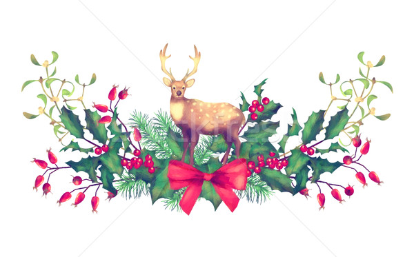 Рождества акварель гирлянда праздник украшения оленей Сток-фото © kostins