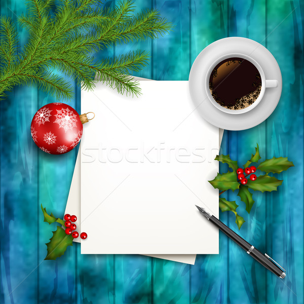 Christmas Vector  top view Background  Stock photo © kostins