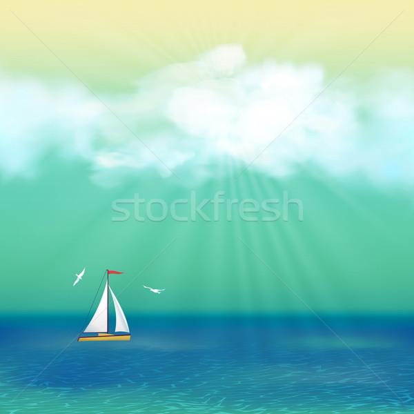Stock photo: Retro Sea Yacht Summer Travel Poster