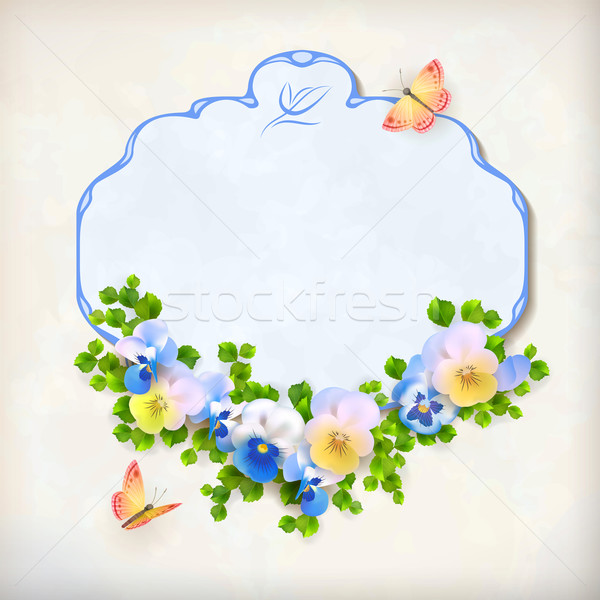 Vector Floral Vintage Pansy Flower Card Stock photo © kostins