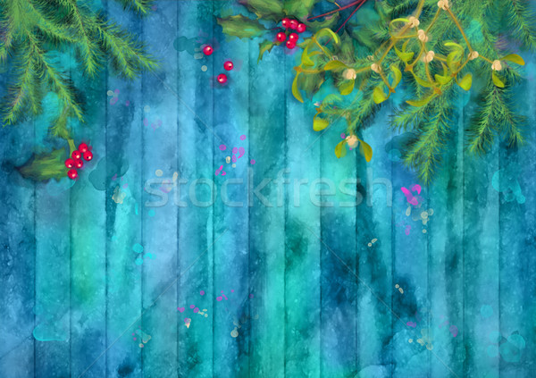 Christmas Watercolor Background Stock photo © kostins