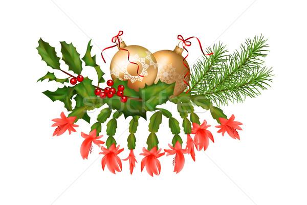 Noel süslemeleri vektör tatil çelenk beyaz Stok fotoğraf © kostins