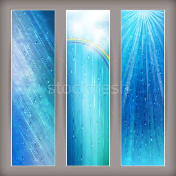 Blue rain banners Abstract water background design Stock photo © kostins